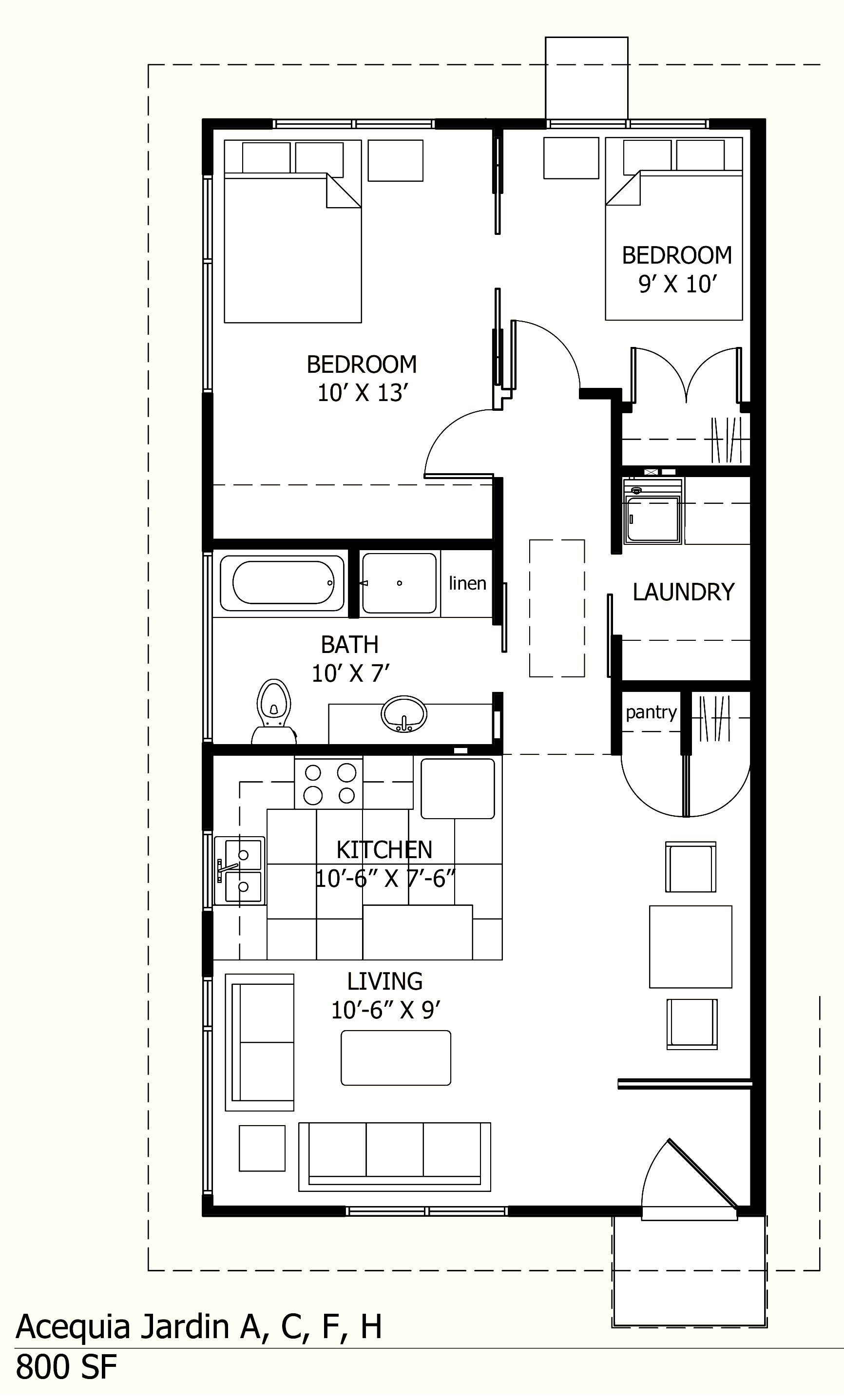I like this one because there is a laundry room 800 sq ft floor