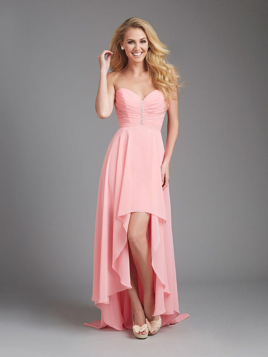 Allure 1361 Ruched along the strapless bodice, this soft chiffon ...