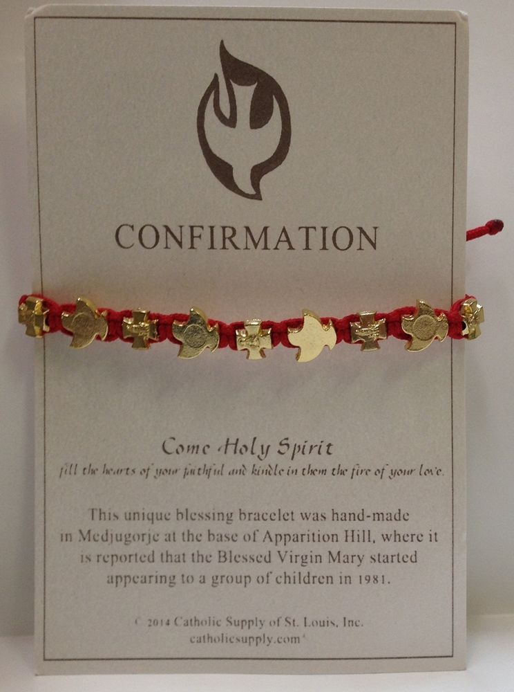 Carded red confirmation bracelet from medjugorje with