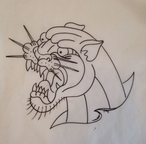 Neo Traditional Panther Outline Traditional Tattoo Traditional Tattoo Outline Old School Tattoo Designs