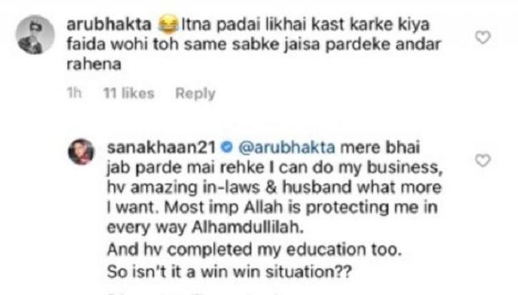 "Sana Khan befitting reply over wearing ""Hijab"""