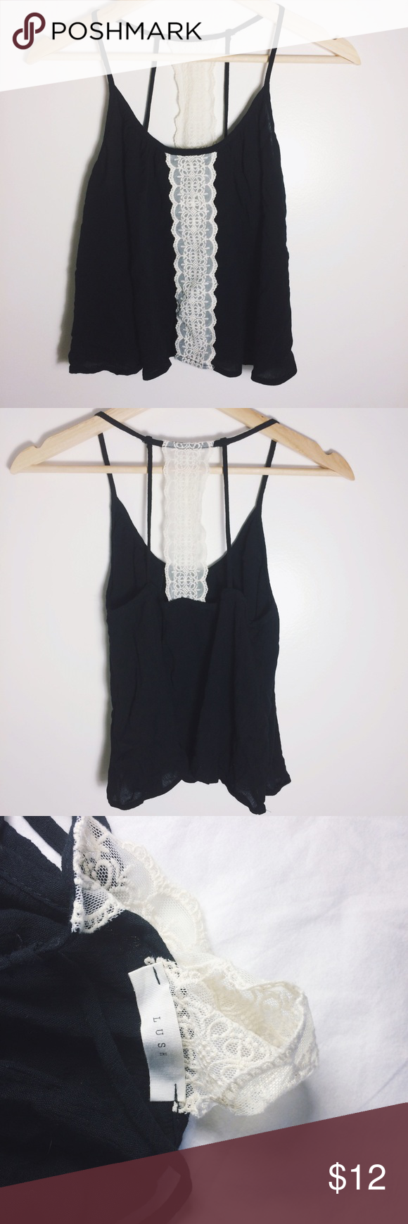Lush Black Tank with Lace Details Beautiful black tank with lace details! Never worn, NWOT. Flowy tank with a great fit 💕 perfect for summer Lush Tops Tank Tops
