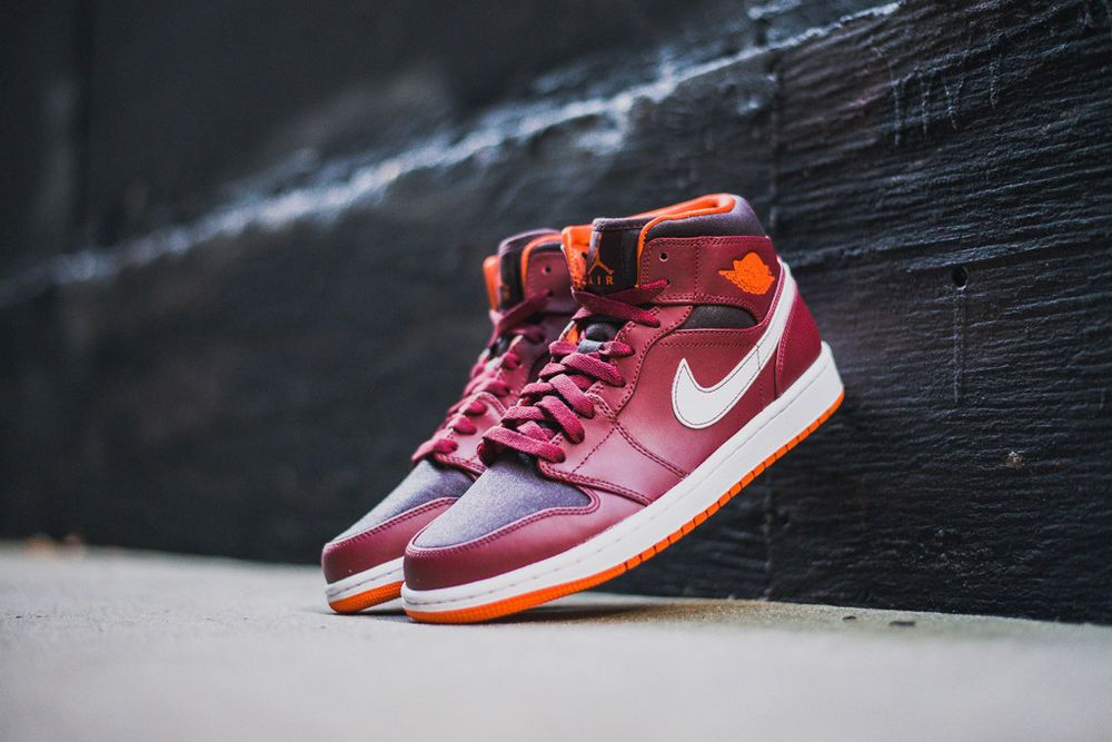 premium selection 0e727 16630 Nike Air Jordan Retro 1 Mid Red Burgundy Electro Orange Sz 14 NIB  554724-604  Jordan  BasketballShoes