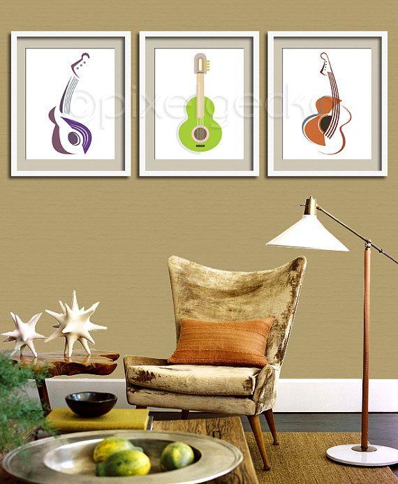 Modern Guitar Art Print  8x10  Modern Home Decor  by pixelgecko, $14.90