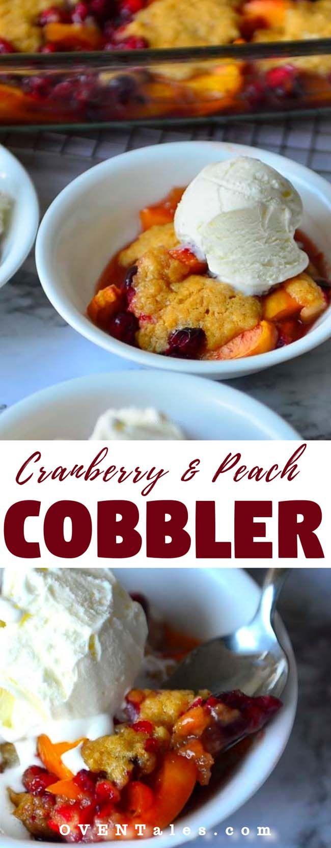 Cranberry and Peach Cobbler #peachcobblercheesecake