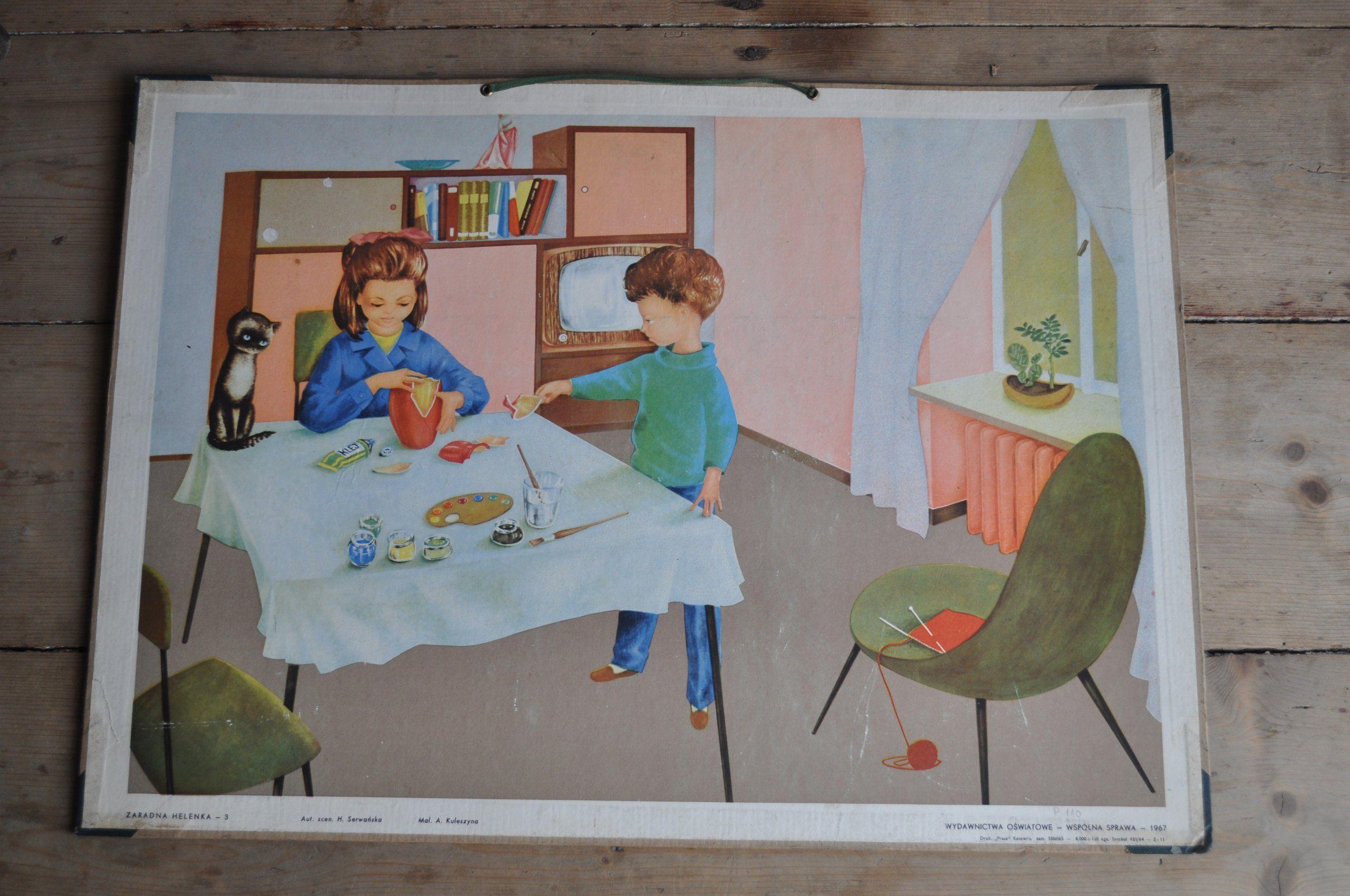 Prl Plakat Dzieci Tablica Grafika A Kuleszyna 1967 6467809488 Oficjalne Archiwum Allegro Painting Art Home Decor