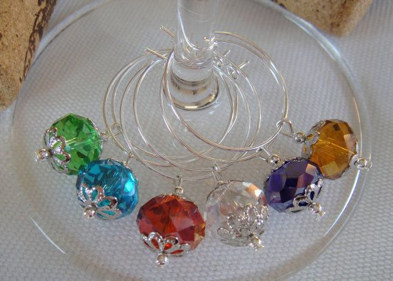 Set of 4 Natural Gemstone Wine Glass Charms