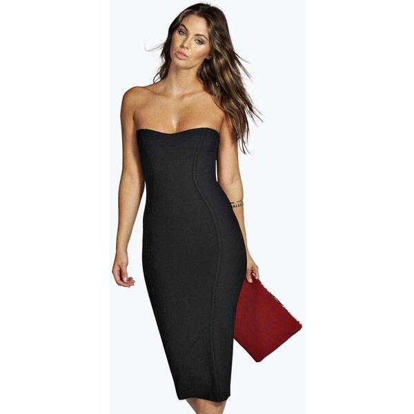4d5f6bb4c36d Boohoo Night Gia Bandeau Bandage Midi Bodycon Dress ($35) ❤ liked on  Polyvore featuring dresses, black, bandeau midi dress, sweetheart dresses,  ...
