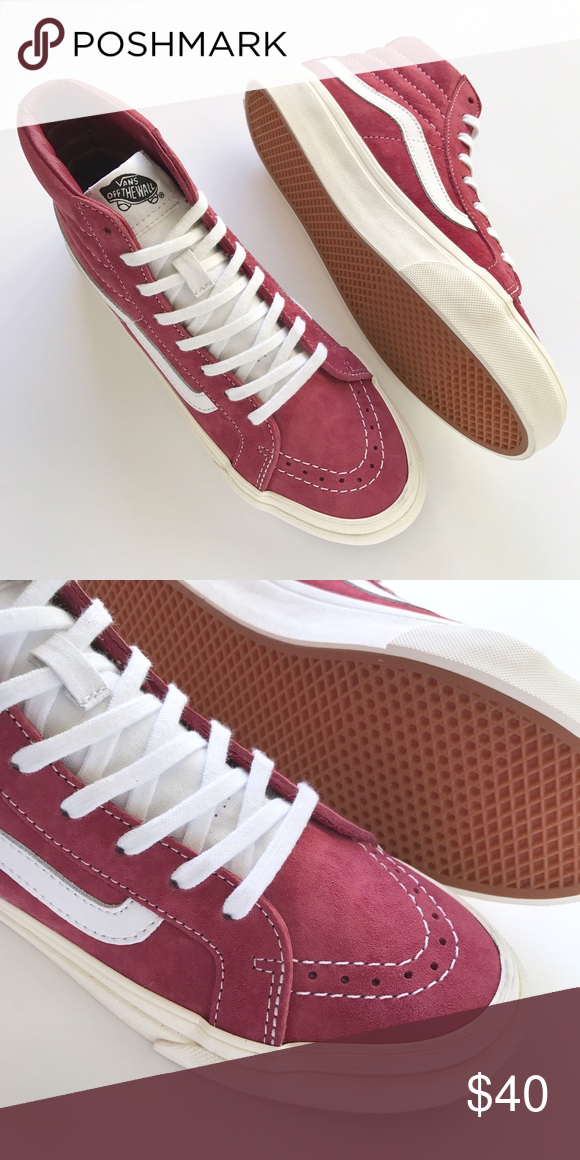 11965ade0d0 ... maroon suede uppers, white tongue, white leather side stripes and off  white sole. W/O box. Women's size 7/Men's size 5.5. Vans Shoes Sneakers