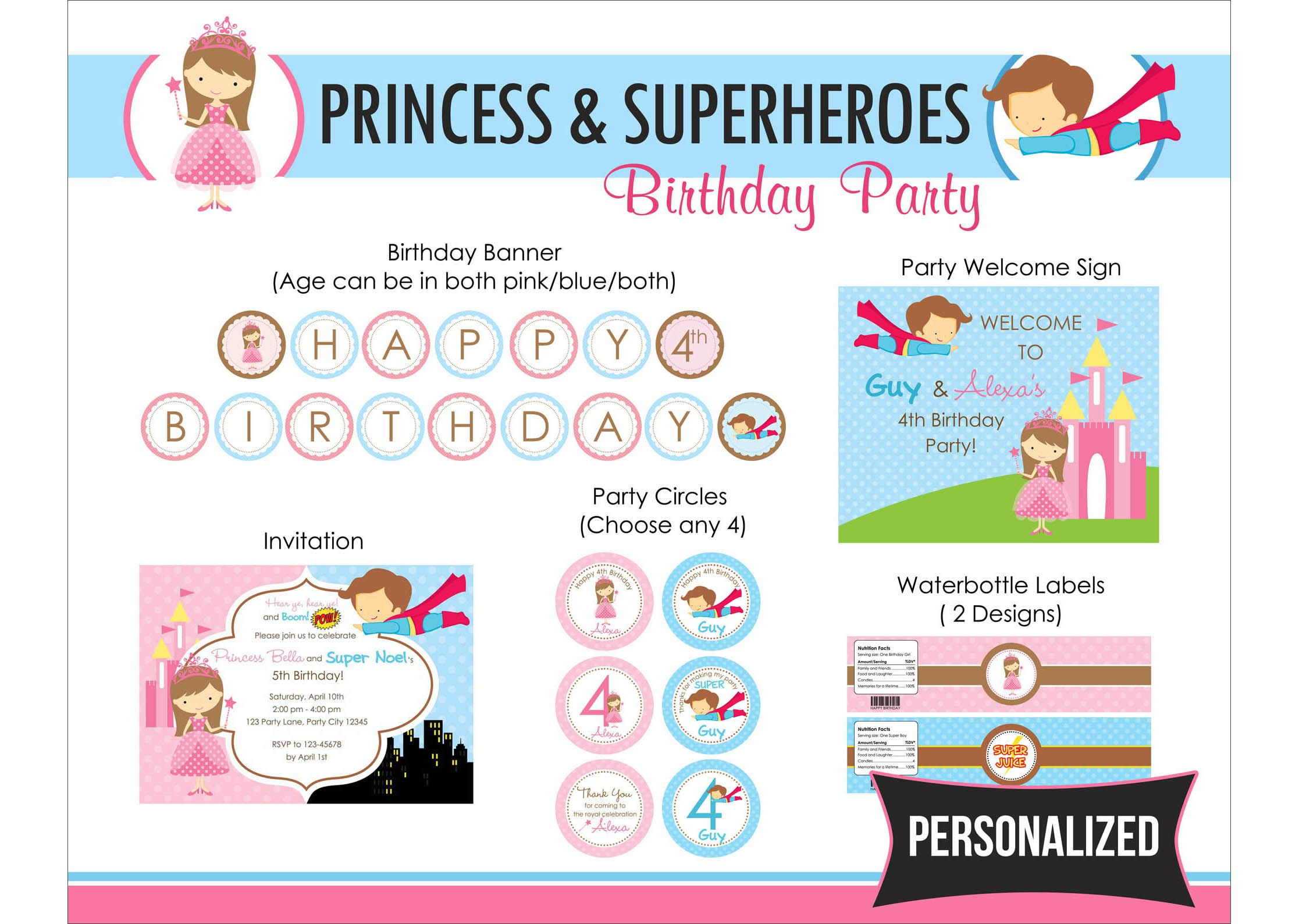 Princess Superhero Birthday Party Package PRINTABLE DIY for Twin ...