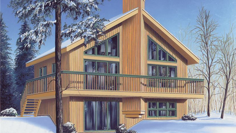 3 Bedroom Chalet Home Plan HOMEPW08062 – Chalet House Plans With Attached Garage