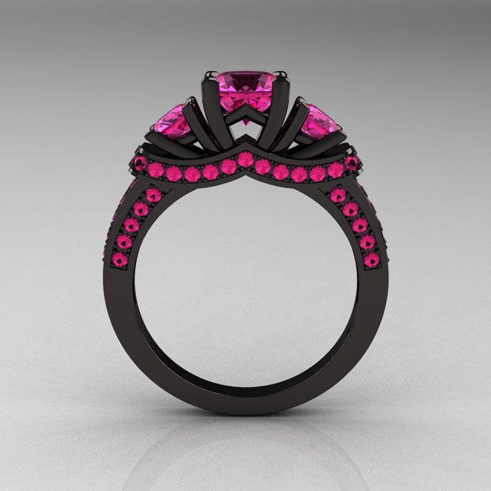 French 14k Black Gold Three Stone Pink Shire Wedding Ring Engagement Love