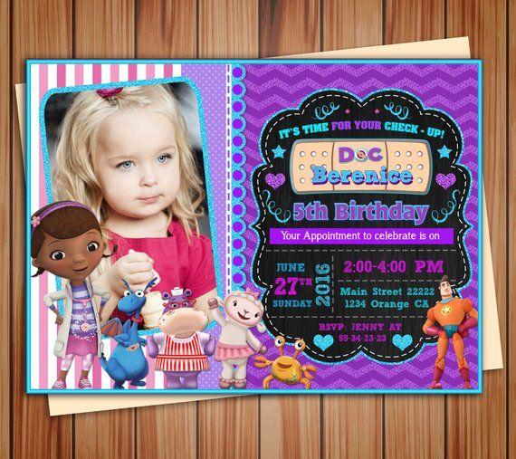 Doc McStuffins Party Invitation Digital Chalkboard