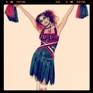 Zombie cheerleader costumes for sale. $45 includes the Pom poms too. Awesome Halloween fancy dress idea. Go to www.costumebazaar.com.au to buy it.