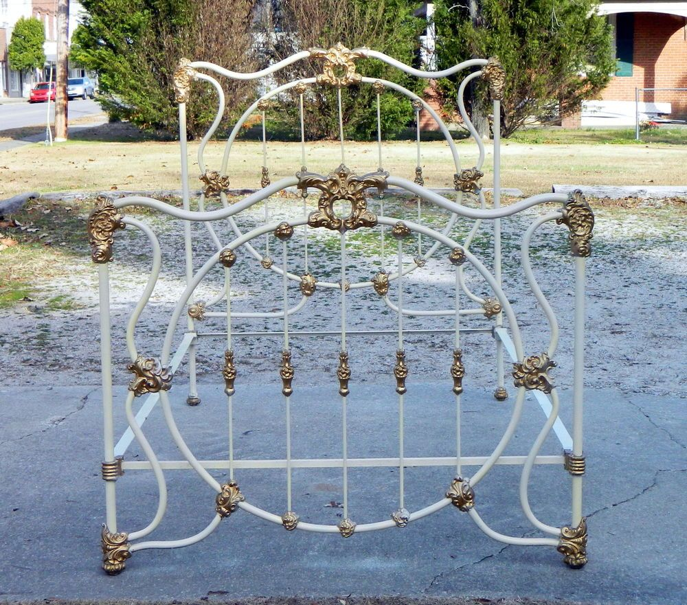 Sweet Very Fancy Solid Iron Bed Full/Queen circa1890 | Iron and ...