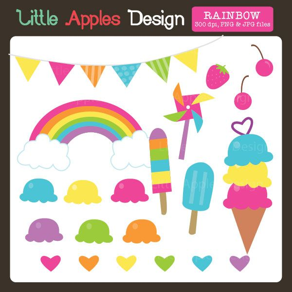 Ice Cream Rainbow Clipart - adorable clipart for ...