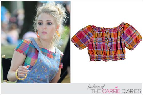 The madras multi-colored top Carrie (AnnaSophia Robb) wears in 2.02: 'Express Yourself' was originally from Keds for Macy'...