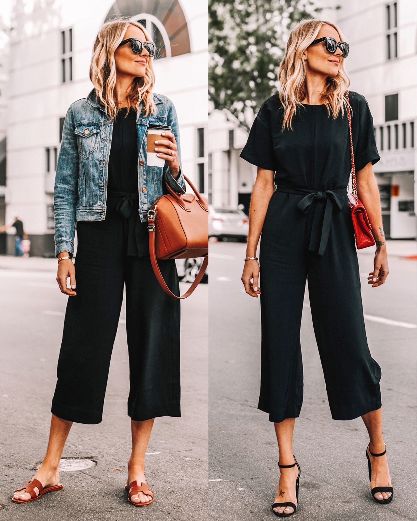 black jumpsuit, jean jacket outfit, jean jacket and jumpsuit outfit, everlane, summer outfit