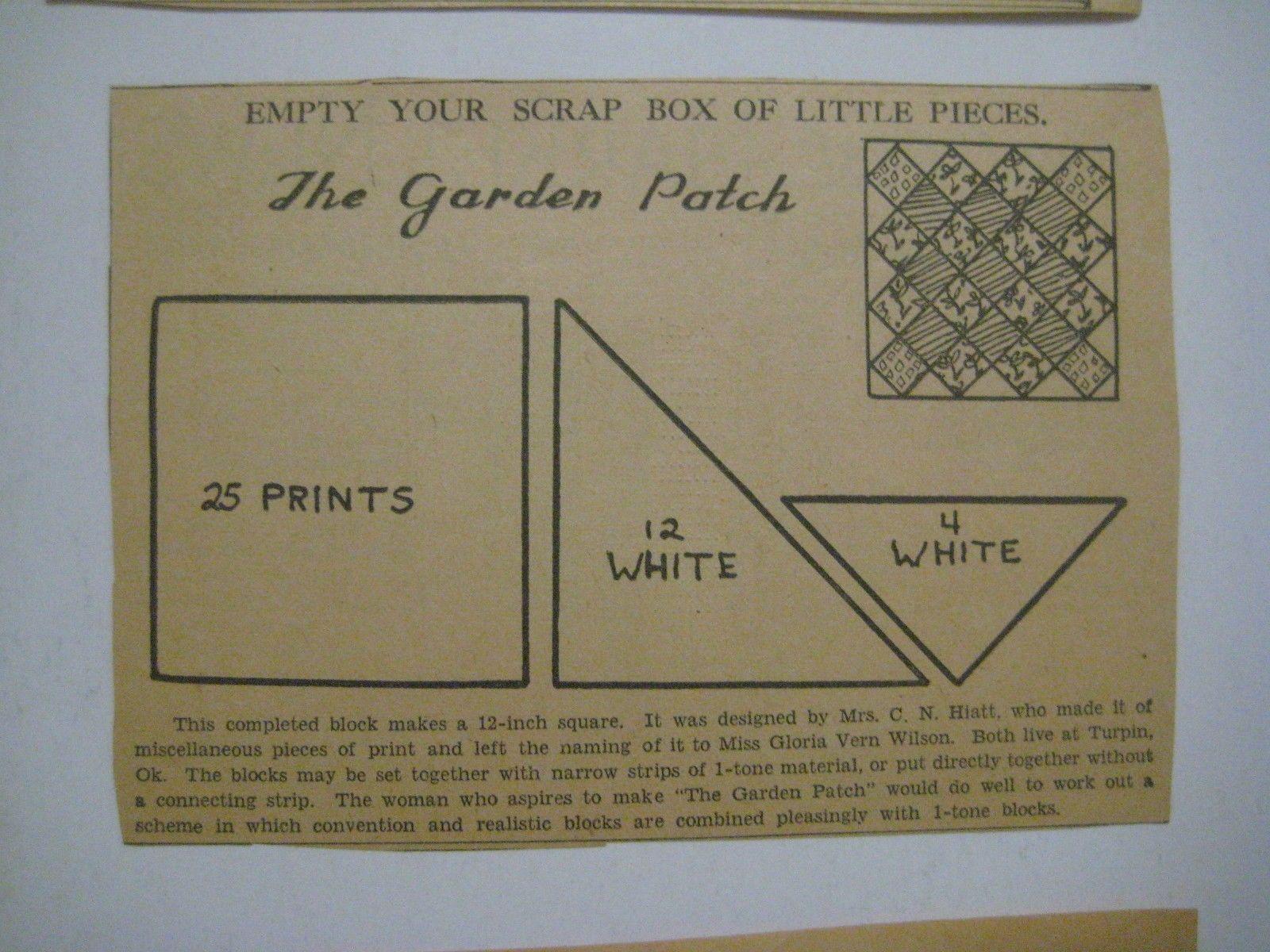 Vintage 1930 S Original Newspaper Quilt Block Patterns Kansas City
