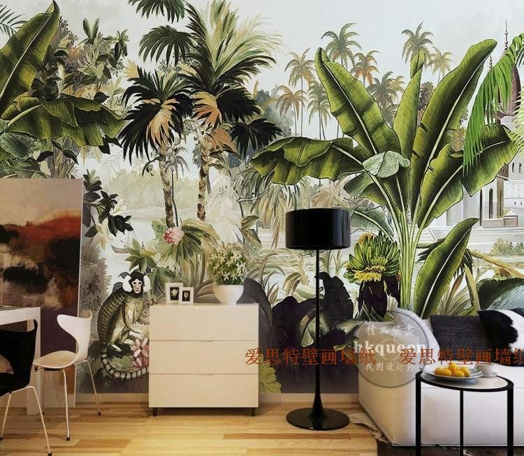 Free Shipping Southeast Green Plant Wallpaper Mural Bedroom Living Room Cafe Tropical Banana Leaves
