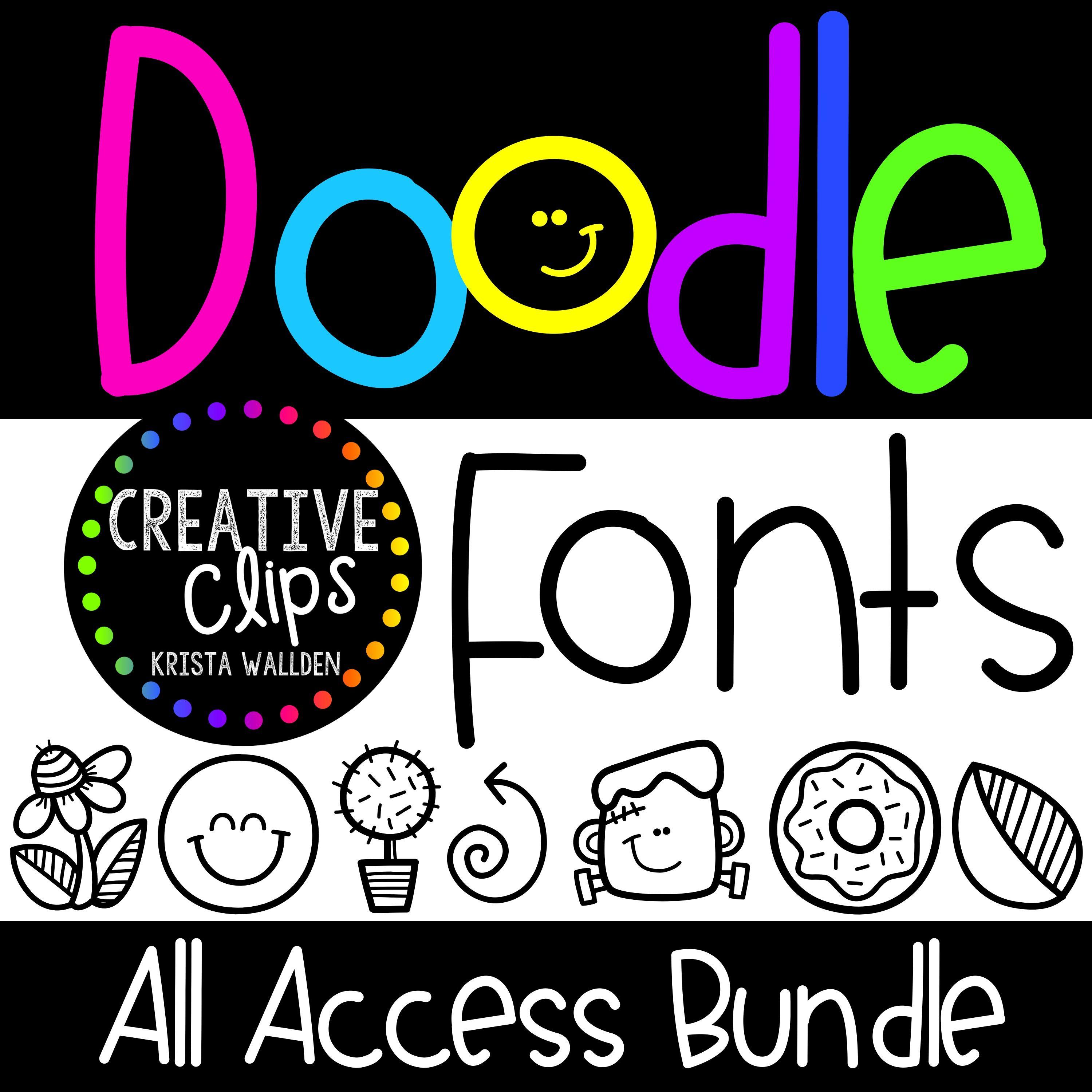 Doodle Font All Access Bundle Creative Clips Clipart