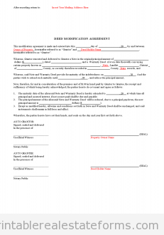 Sample Printable Deed Modification Agreement Form  Printable Real