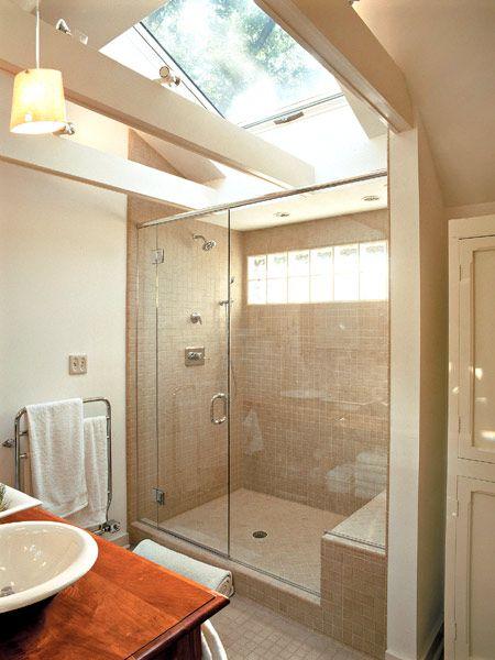 Attic Bathroom Skylight Between Rafters Bathrooms