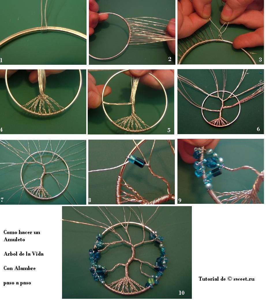 Instructions on how to make a dream catcher picture - Diy Tree Of Life Amulet The Link Has English Instructions Same Steps For A