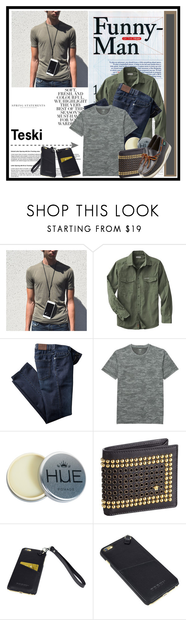 """""""Teski...2"""" by cindy88 ❤ liked on Polyvore featuring Folio, Uniqlo, Versace and Eastland"""