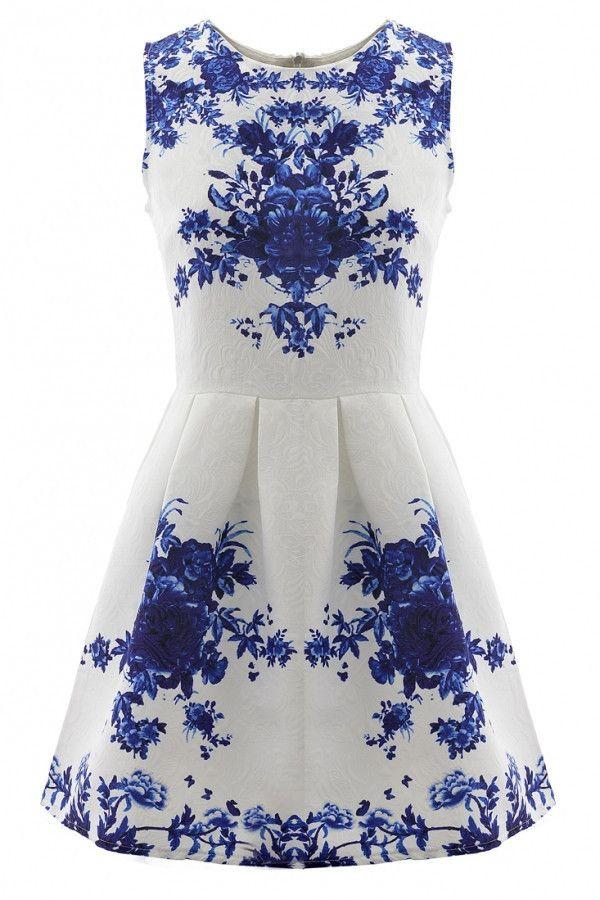 7cbef9b2d81c Porcelain Floral Print Flare Mini Dress. Porcelain Floral Print Flare Mini  Dress Skater Dresses