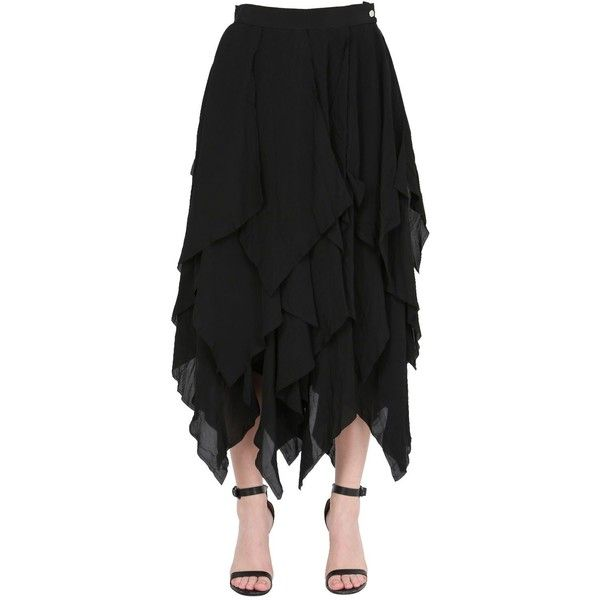 Loewe Women Asymmetrical Layered Gauze Skirt ($2,140) ❤ liked on Polyvore featuring skirts, black, loewe, layered skirt, double layer skirt, button skirt and gauze skirt