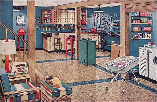 1948 vintage basement workshop laundry room basement for Retro basement ideas