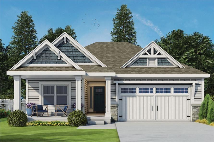 Craftsman Home Plan 3 Bedrms 2 5 Baths 1886 Sq Ft 120 2563 Small Cottage House Plans Craftsman House Plans Craftsman Cottage