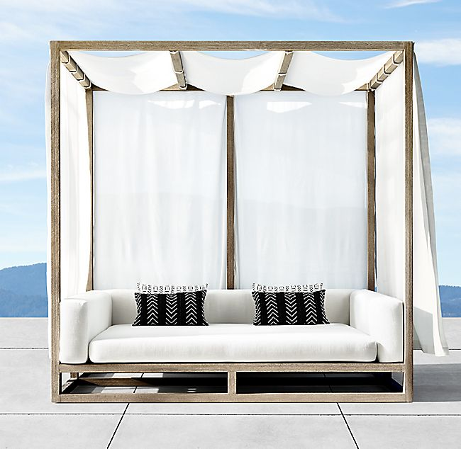 Aviara Teak Canopy Daybed Outdoor Living Furniture