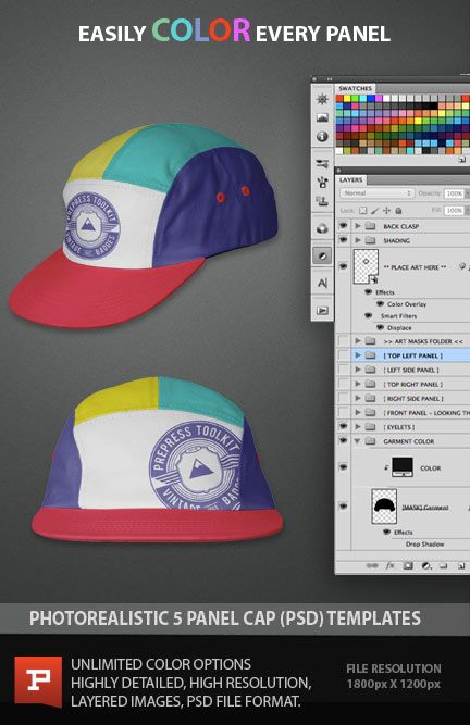 5 panel cap ghosted photo real editable template psd photoshop cap