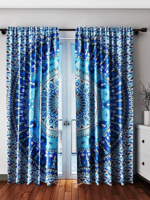 Mandala Curtains Blue Tapestry Curtain Panels For Your Boho Decor