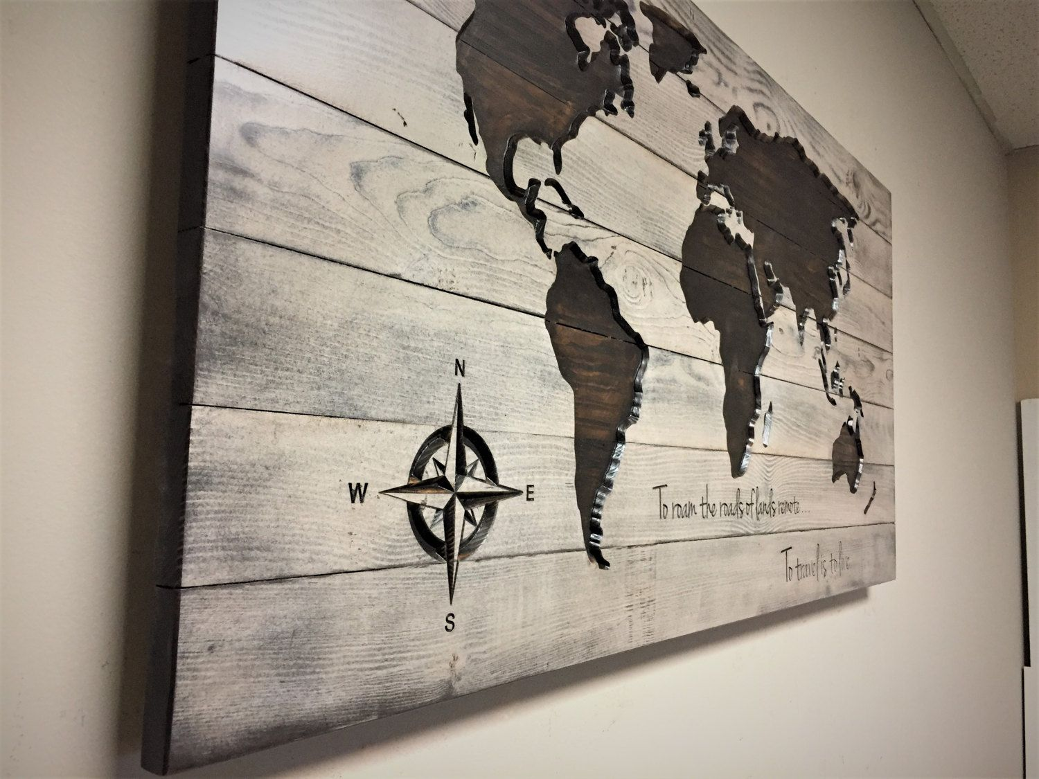 Pallet Map, Wood Wall Art, Carved World Map, Quote Sign, Rustic ...