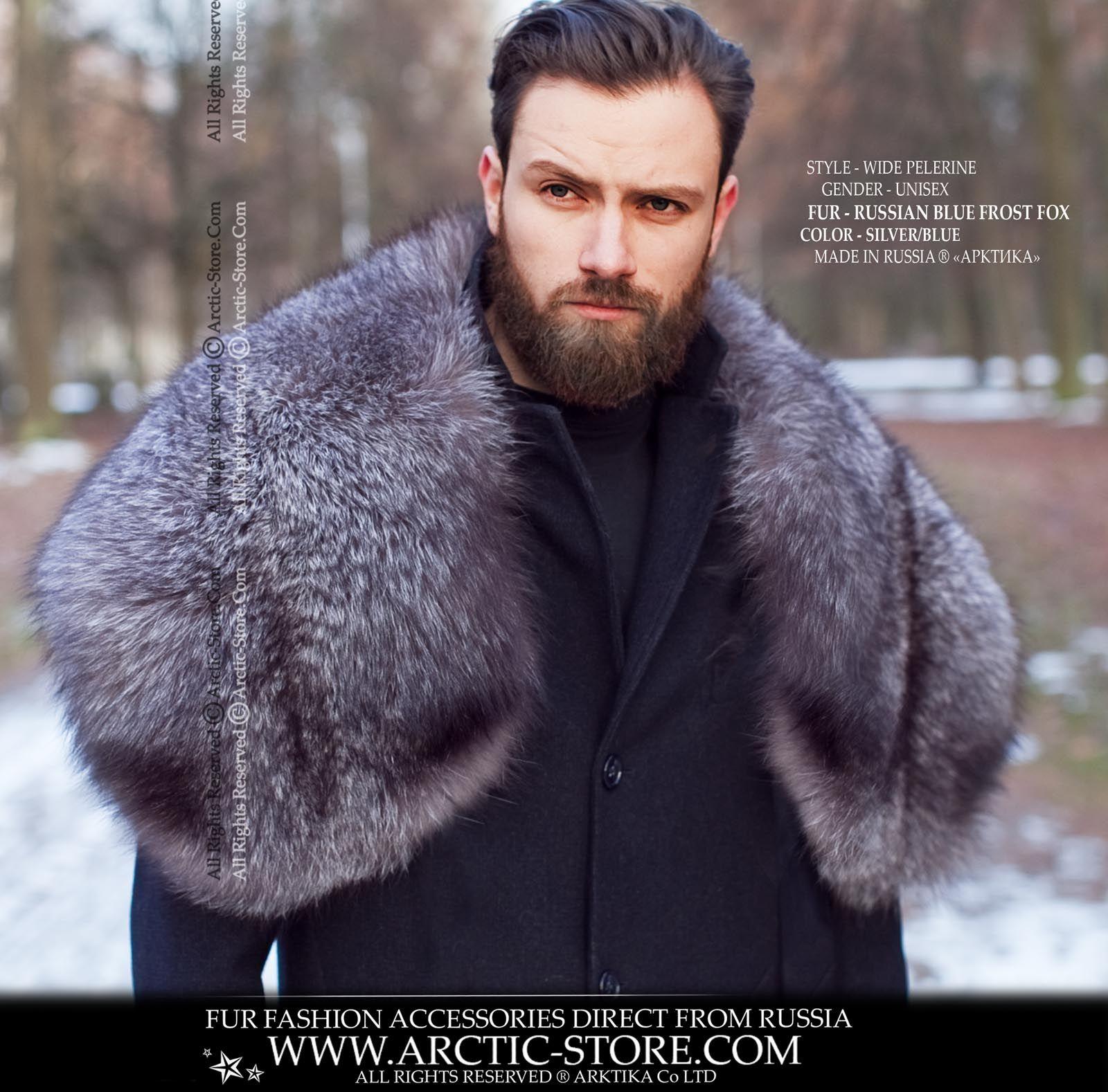503e0c42c865a Men's wide pelerine, Blue Frost fox in 2019   Men's fur fashion ...