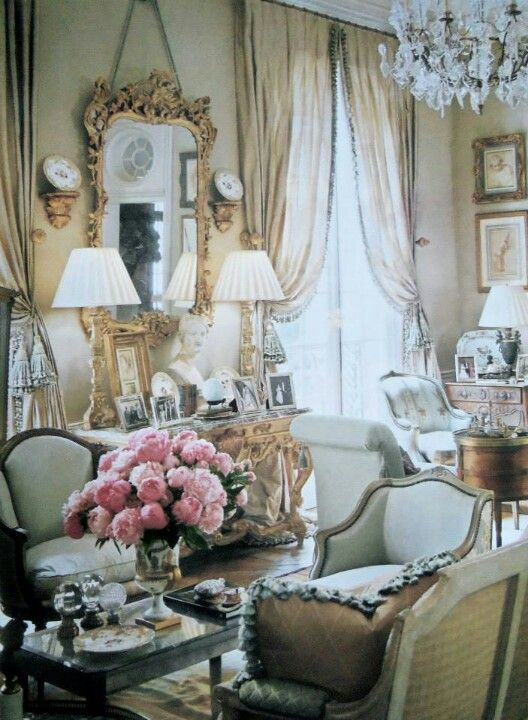 Elegant French | Shabby French Cottage | Living room decor country ...