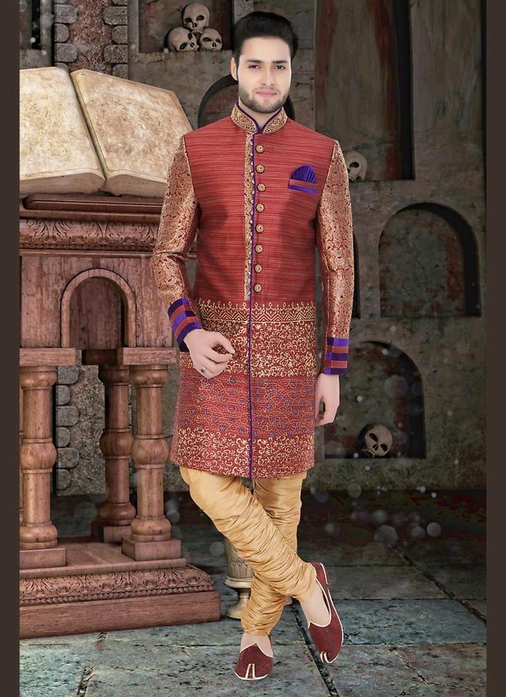 Indian Readymade Wedding Dress Ethnic Indostyle Sherwani Designer Bollywood Mens KriyaCreation