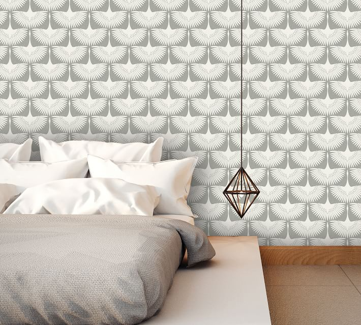 Feather Flock Wallpaper Pottery Barn Removable Wallpaper Flock Wallpaper Peel And Stick Wallpaper
