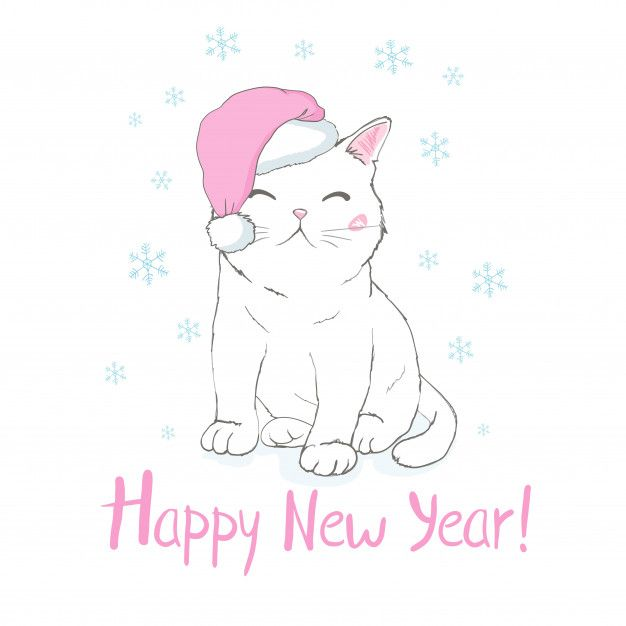 Happy New Year Greeting Card With Cute Funny Cat Face In Santa Claus Hat Happy New Year Greetings New Year Greeting Cards Happy New Year Cards