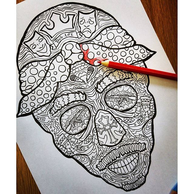 Tupac Sugar Skull Page From The Second Book Complicatedcoloring Westside