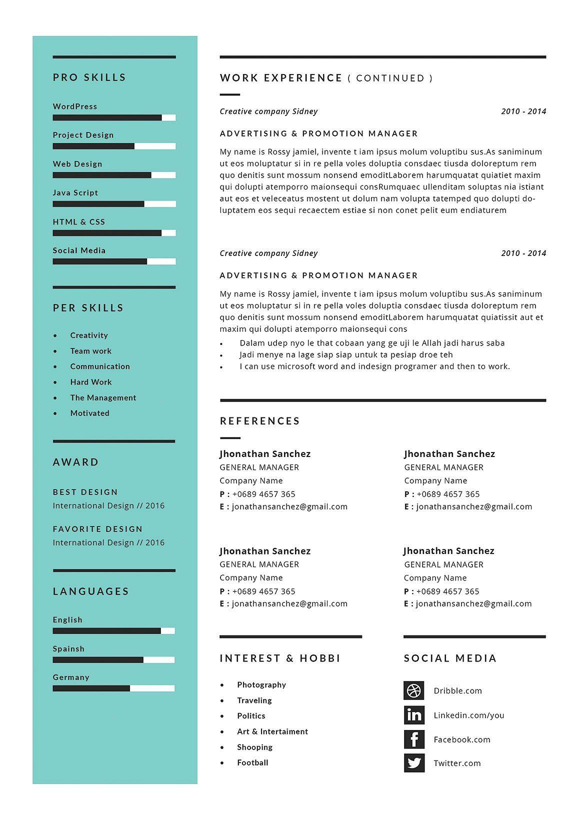 Resume Cv Rossy Cover Letter For Resume Resume Cv Cv Template