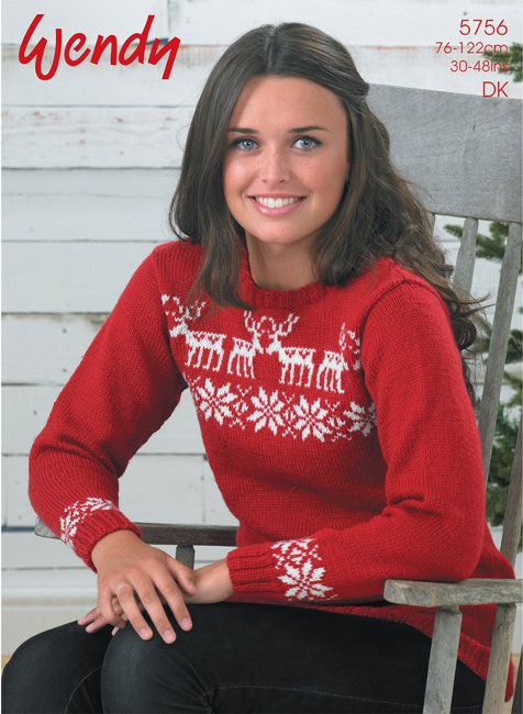 ee84fcf2714cc2 Wendy Pattern 5756  Christmas Sweater with Reindeer and Snowflake Motifs