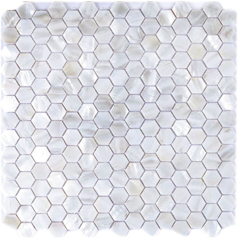 A18009 White Hexagon Pearl Shell Tile Mesh Backing 1 Sq M Or