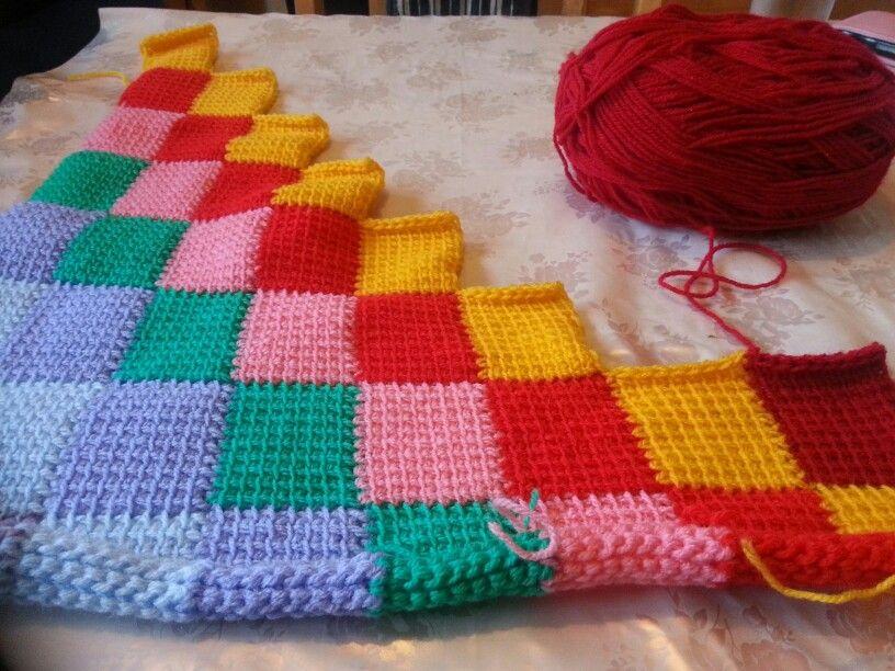 Tunisian entrelac crochet rainbow blanket (slightly different method ...