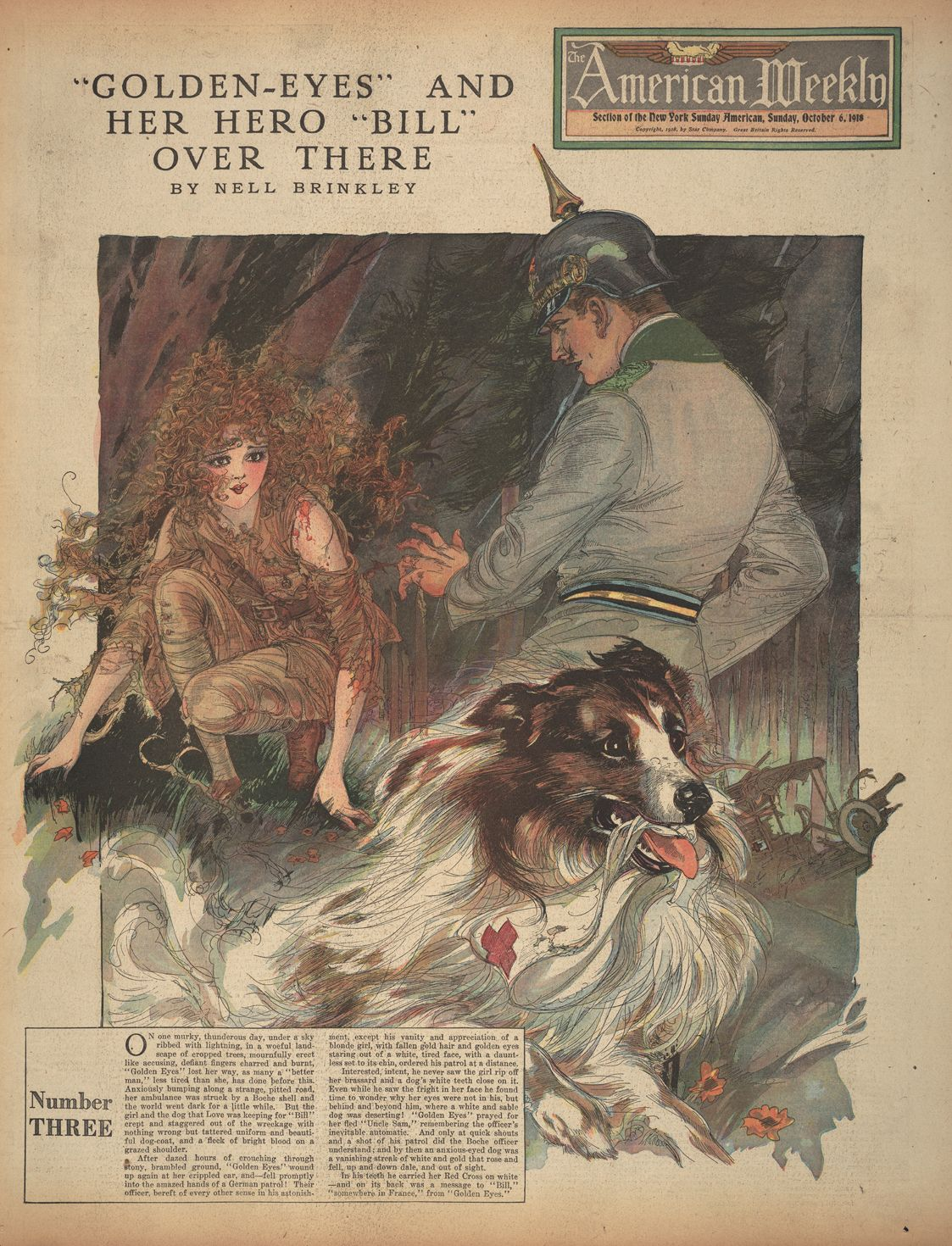 "Nell Brinkley, ""Golden Eyes and her Hero Bill: Number Three,"" in ""The American Weekly,"" World War 1. [pr]"