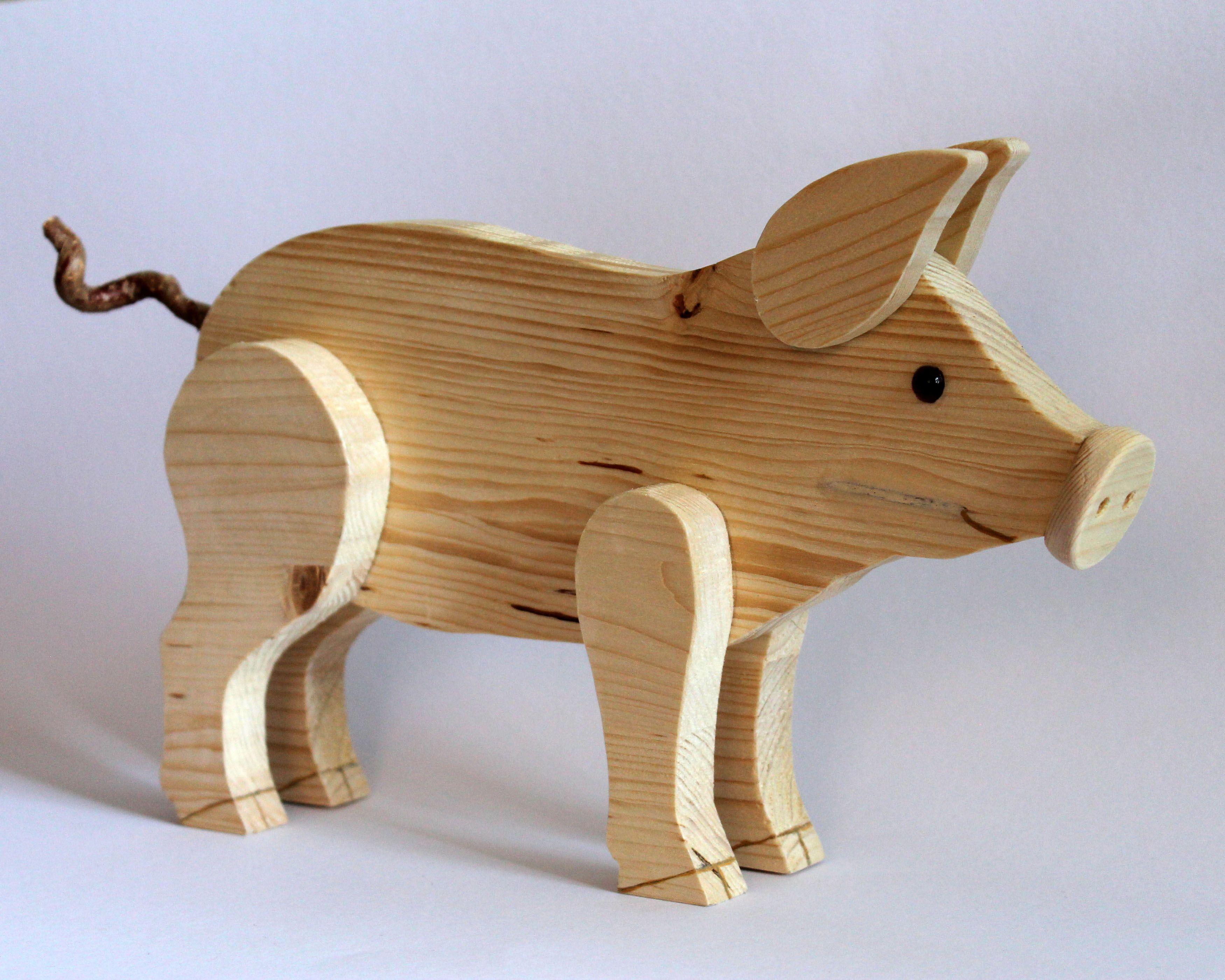 holzdeko schwein massiv natur ein deko schwein aus massivem holz und mit einem. Black Bedroom Furniture Sets. Home Design Ideas