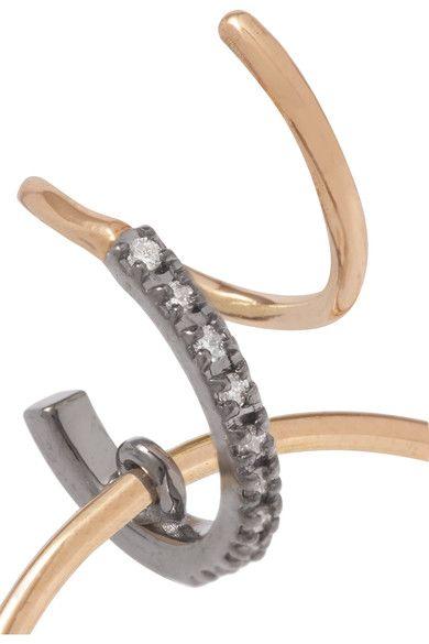 Maria Black Darcy Noir 18-karat Gold, Rhodium-plated And Diamond Earring